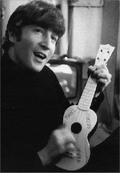 John Lennon holding a ukulele