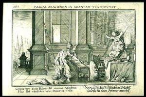 Arachne transformed, from a 1703 edition of the Metamorphoses of Ovid illustrated by Johann Wilhelm Bauer