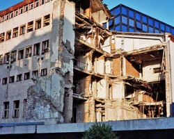 The headquarters of Radio Television Serbia after the 23 April 1999 bombing